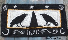 Primitive Hooked Rug - Black Hat Society