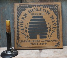 Primitive Wood Sign - Clover Hollow (mustard)